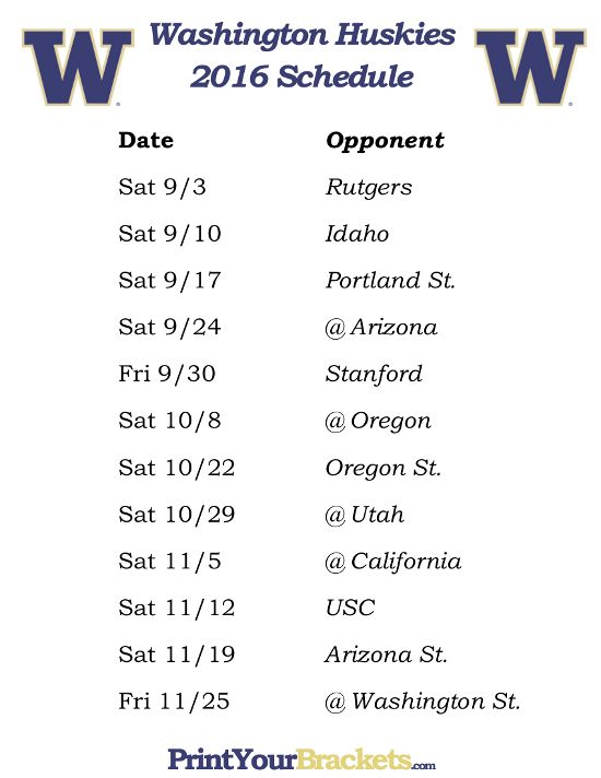 Printable Washington Huskies Football Schedule 2016 ...