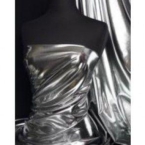 Silver metallic foil 4 way stretch fabric NG521 SLV