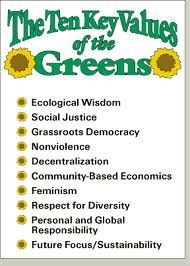Here on Pinterest, when I search for Green Party, I mostly find a lot of party goods colored green. This is more what I was looking for, and I'll be in search of more Green Party political values here.