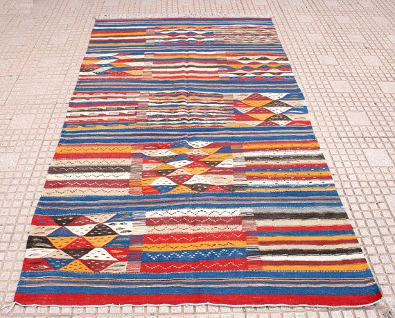 striped rug blue red yellow striped kilim rug 5x8 moroccan rug blue boho rug blue wall tapestry wall hanging morrocan rugs blue yellow