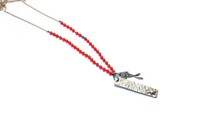 Seaside Collection, Oxidized Sterling Silver Fish and Coral Necklace by besignjewellery on Etsy