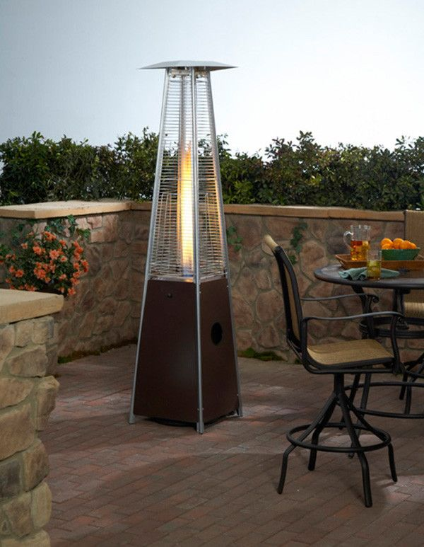 Patio Heaters Heater Quartz Gl In Hammered Bronze W Dancing Flame