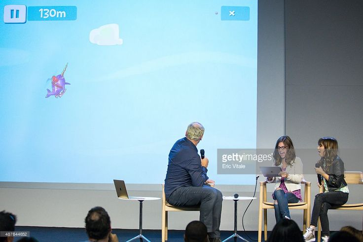 Moderator Mike Caron, actors Madisyn Shipman and Cree Cicchino play Sky Whale at the Apple Store Soho Presents: Meet the Cast: 'Nickelodeon's Game Shakers' at the Apple Store Soho on September 10, 2015 in New York City.