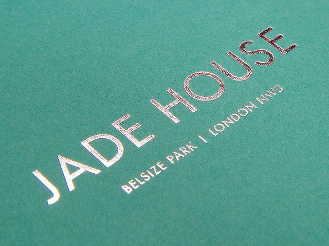 Jade House Brochure — Cover. The paper used on the cover is Colorplan Fabric Embossed Emerald Green, foil blocked in silver.via Flickr.