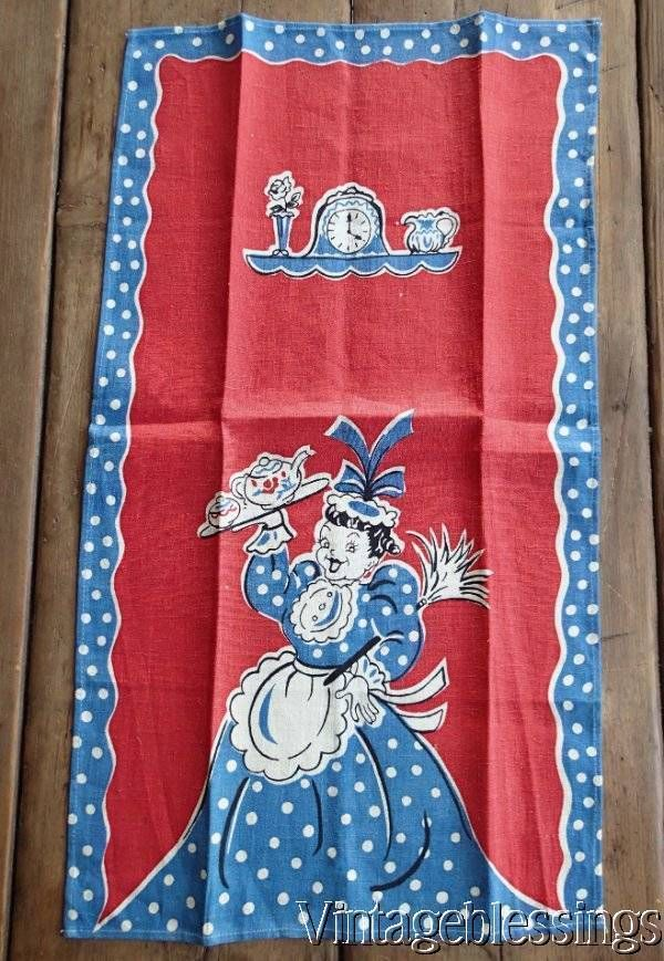 Vintage Broderie Creations Red White Blue Lady Tea Pot Printed Towel
