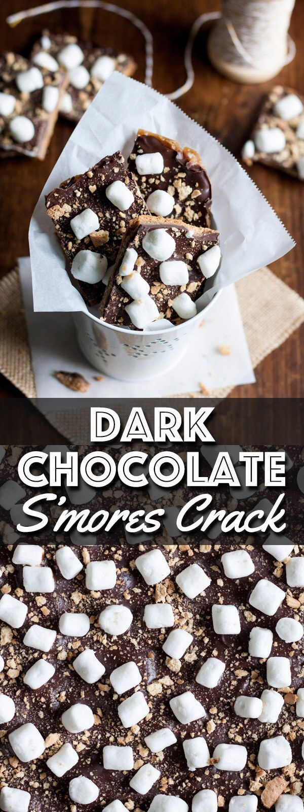Dark Chocolate S'mores Crack is an easy Graham cracker toffee recipe that you can whip up in just minutes. Enjoy this version of S'mores without having to light a camp fire! #SundaySupper | wildwildwhisk.com