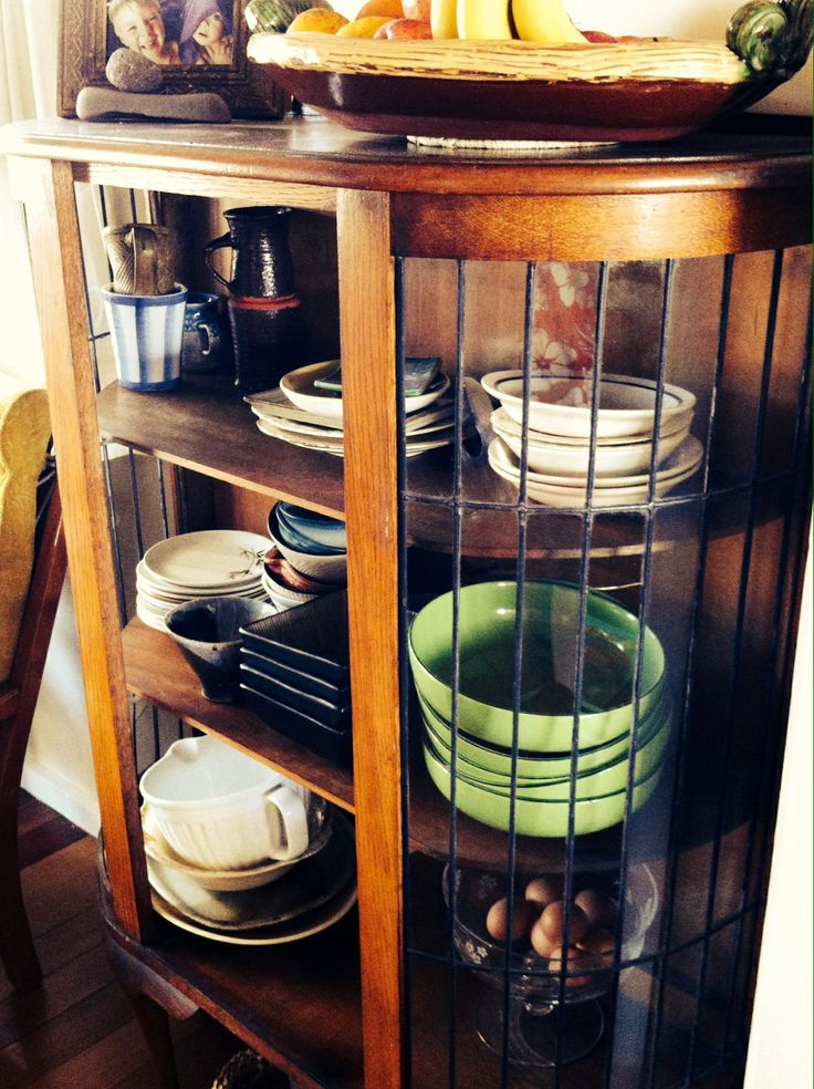 Up cycled china cabinet is new storage for funky crockery.