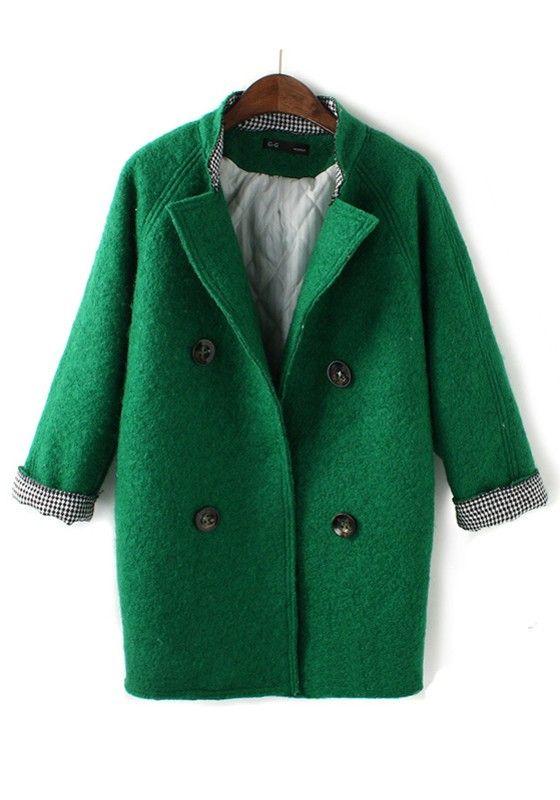 ++ green plain turndown collar double breasted wool coat