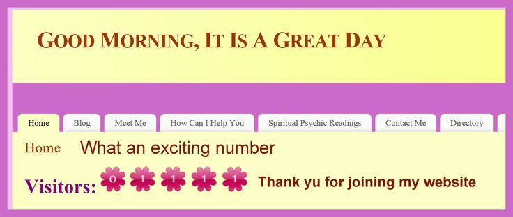 Thank you for joining me on my website Be sure to get the FREE Spiritual Blessing while you are there Let me know the  number that greeted you when you got there... http://buff.ly/NwQBhR
