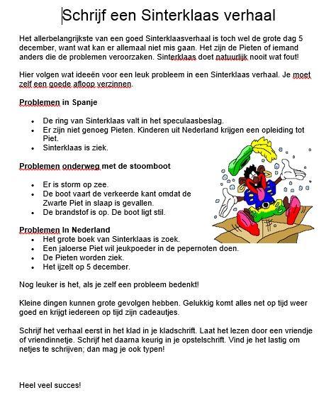 Een verhaal schrijven over de problemen van Sinterklaas!