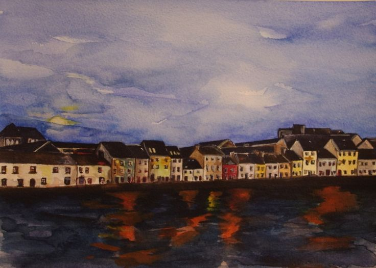 'Moonlit Long Walk - Galway' by Fiona Concannon on ArtClick.ie