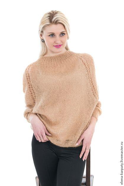 Кофты и свитера ручной работы. Ярмарка Мастеров - ручная работа. Купить модный свитер из итальянского кид мохера. Handmade. Однотонный