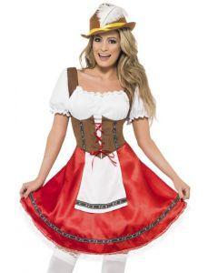 Dit dirndl jurkje is perfect voor het Oktoberfest om lekker met vrienden bier te drinken. Het jurkje is in de kleuren rood en bruin en heeft een aangehecht wit schortje. Aan de voorzijde kan je het jurkje stellen door middel van zigzag lint. Dit typische duitse jurkje is leuk voor een feestje of carnaval met de Heidi pruik en witte kousen die u onderaan de pagina kunt vinden.