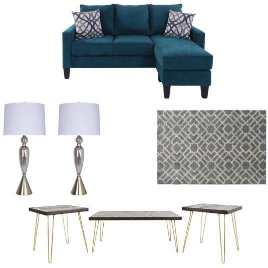 Rug With Turquoise Sofa: Virgo Turquoise Sofa Chaise, Rug, Cocktail Table, 2 End