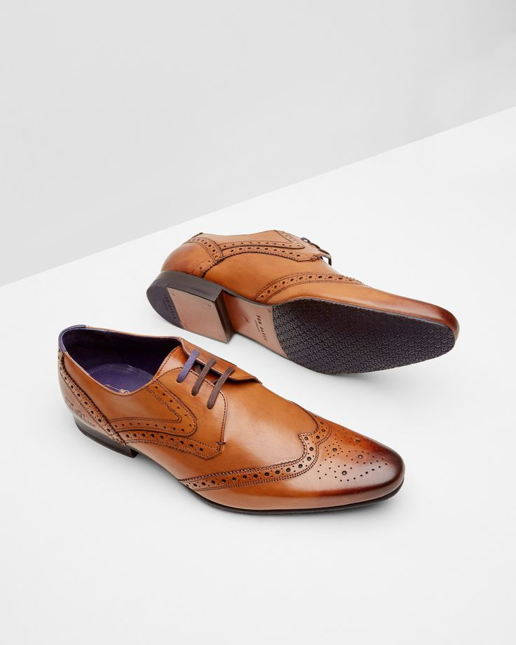 Leather derby brogue - Tan | Shoes | Ted Baker UK @tedbaker #WedWithTed #
