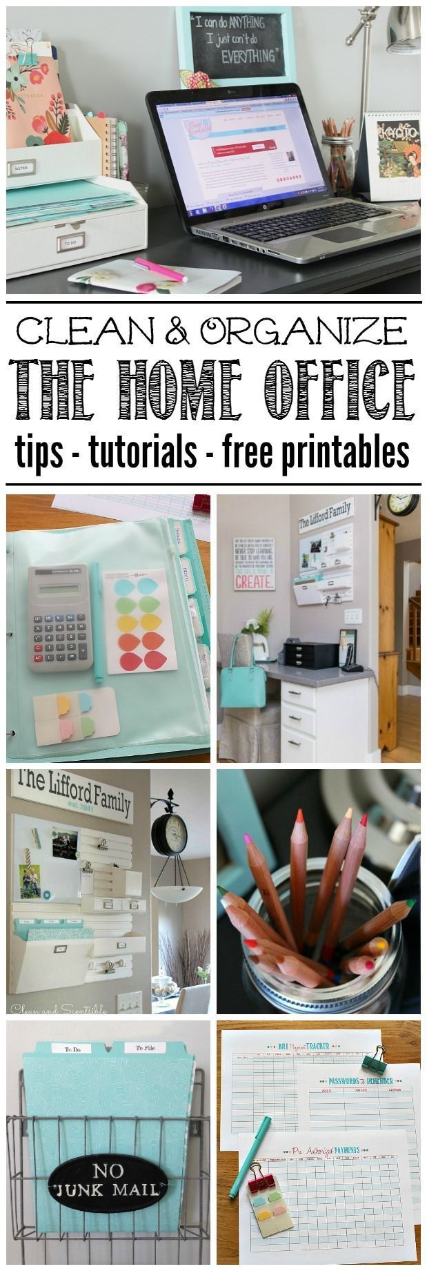 Everything you need to get your home office cleaned and organized! Lots of free printables included - part of The Household Organization Diet.