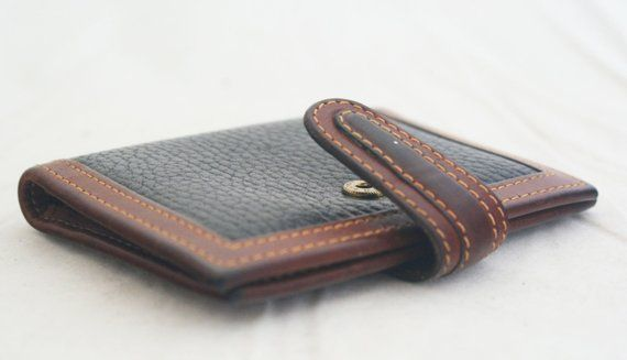 Wallet- COACH brown and black two tone pebbled leather credit card holder