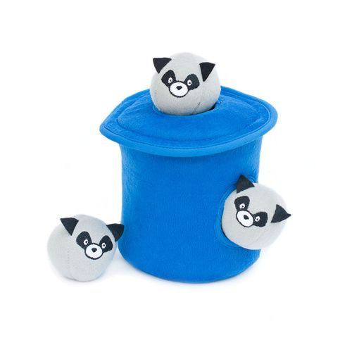 ZIPPY PAWS BUBBLE BABIEZ RACCOONS IN A TRASH CAN SQUEAKER DOG TOY