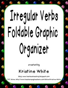 This foldable graphic organizer helps students learn present, past, and past participle tenses of irregular verbs.  It has options for differentiation.  It can also be glued into an English notebook.  See my preview file for more information and pictures.Includes these 24 common irregular verbs: begin, break, bring, choose, do, draw, drink, drive, eat, fall, fly, go, grow, know, make, ride, see, speak, swim, take, teach, throw, wear, and write.
