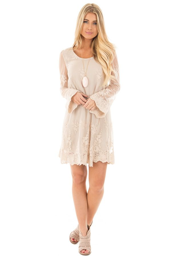 Lime Lush Boutique - Taupe Long Sleeve Lace Dress with Scalloped Hemline, $46.99 (https://www.limelush.com/taupe-long-sleeve-lace-dress-with-scalloped-hemline/)
