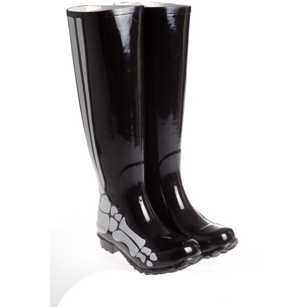 Be&D Skeleton Rain Boots ($72) ❤ liked on Polyvore featuring shoes, boots, nero, wellington boots, skeleton shoes, rubber boots, rain boots and be&d shoes