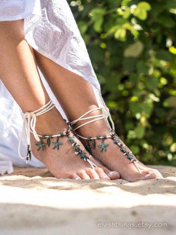 Ivory Barefoot Sandals Beach Wedding Mermaid Jewelry Bottomless