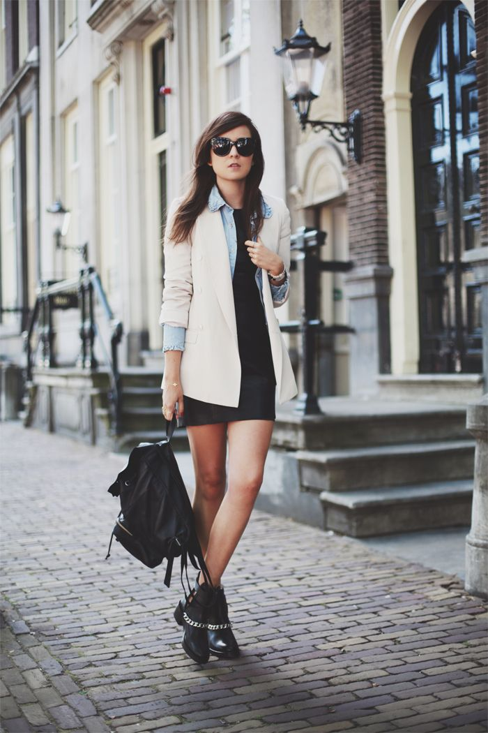 Leather Dress: Mango  |  Boots: Sandro Paris (Out mid September)  |  Denim shirt: ACNE  |  Blazer: ZARA (ooooold)  |  Sunglasses: Celine