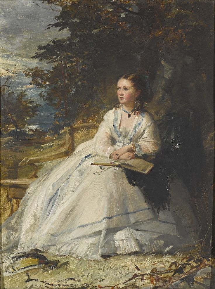 Portrait of Harriet Stuart Forbes, Lady Clinton. Robert Herdman (Scottish, 1829-1888). Oil on board.