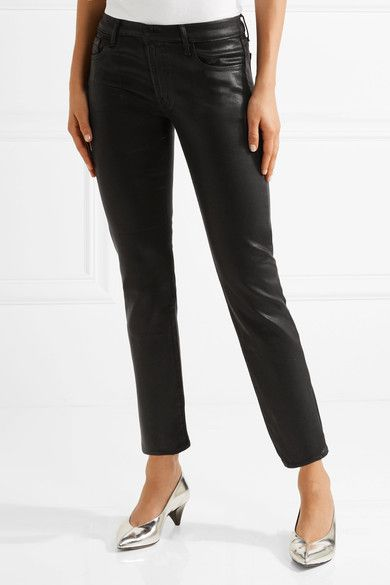 J Brand - Hipster Coated Low-rise Skinny Jeans - Black