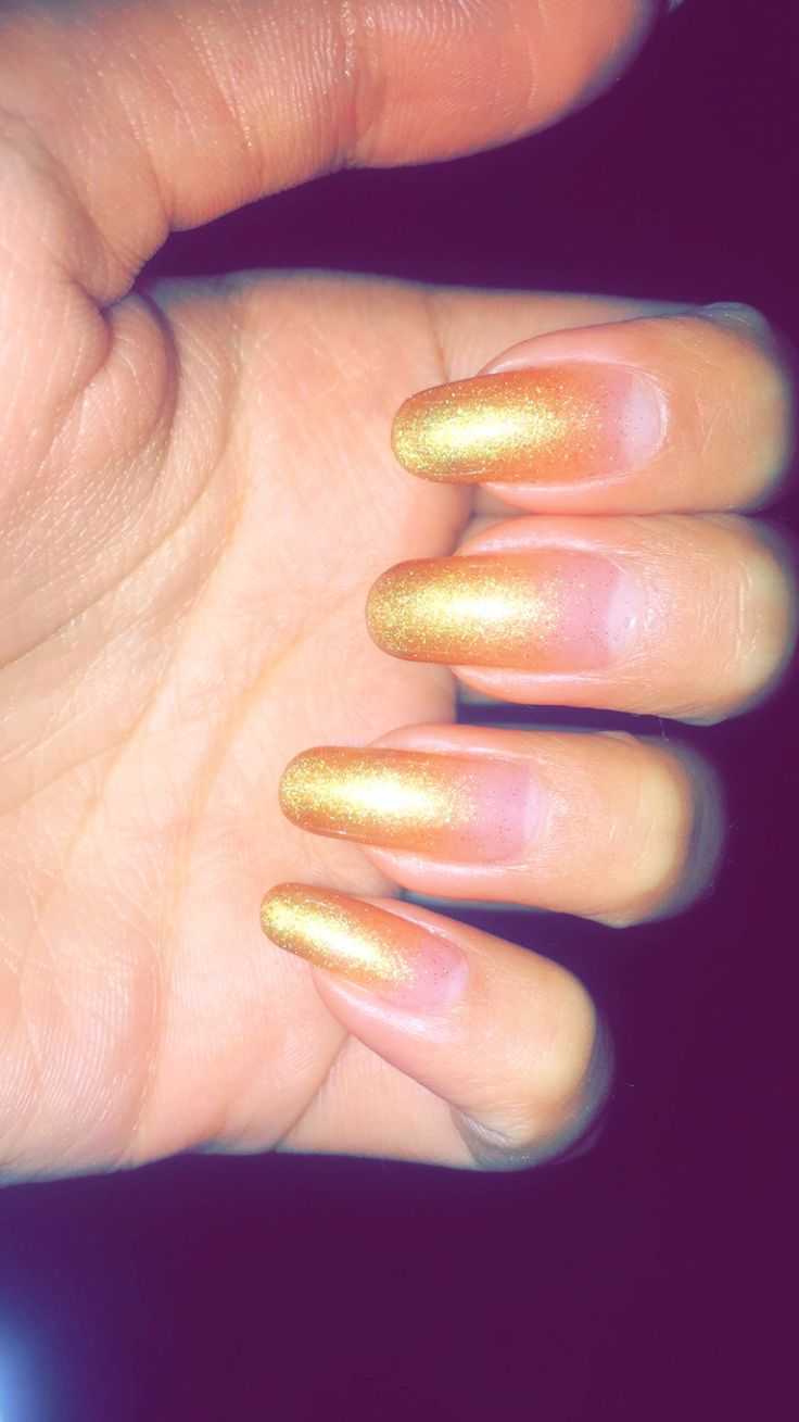 Golden nails. Ombre. My nails. Manicure. Gold.