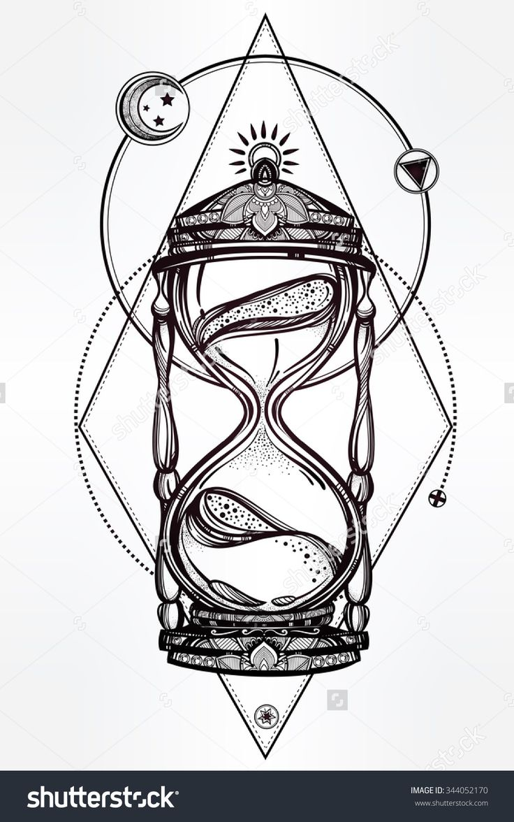 Hand drawn romantic beautiful drawing of a hourglass. Vector illustration isolated. Tattoo design, mystic time symbol for your use.