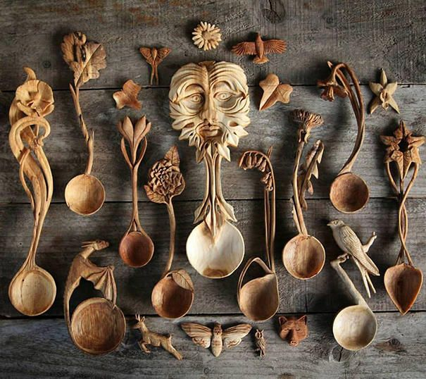Резные деревянные ложки Джайлса Ньюмана
