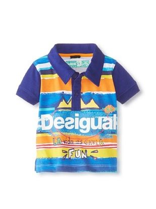69% OFF Desigual Kid's Short Sleeve Polo (Blue)