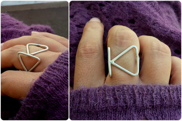 Square Silver Handmade Ring with triangles turn out by kolimpri11