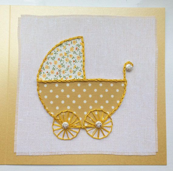 New baby card baby shower card welcome baby card textile