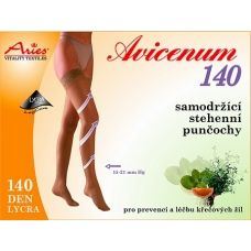 140 DEN compression stockings with lace. They have a reinforced heel. AVICENUM 140 reduces starting difficulties venous insufficiency. Moderate fatigue, heaviness and tension in the legs, swelling. Microcapsules Skintex continuously released extracts of grapefruit, lemon, peppermint and thyme.   140 DEN Lycra, composition 64% Nylon, 36% Lycra. The pressure at the ankle 15 to 21 mmHg.  Buy on ACTIVtights.com