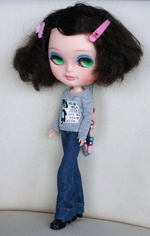 Custom Icy panenka Blythe klon OOAK CCE černé vlasy