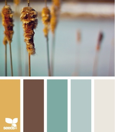 cats tail tones paint palette (favorite so far)--like the mustard color for an accent wall with the greyish beige for the other walls...would meld with brown furniture and the teals in the kitchen/office