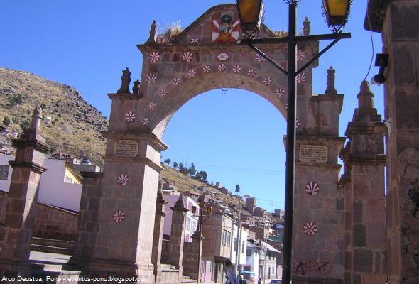 Arco Deustua, un patrimonio invalorable de la región de Puno.  En memoria de los soldados caídos en las batallas de Junín y Ayacucho de 1824, se construyó hace más de 160 años el Arco Deustua en la región de Puno. Es una edificación ubicado al norte de la ciudad y muy cerca al Parque Pino, con mucho valor histórico y patrimonial en excelente estado de conservación.