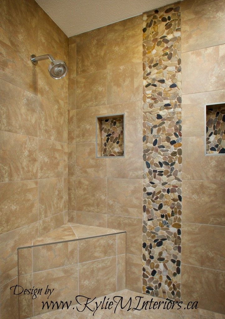 Walk-In Tile Shower Designs | walk in shower porcelain tile with pebbled stone vertical on the wall