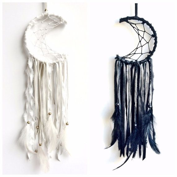 PLEASE NOTE THAT I AM NOT ACCEPTING ANY NEW ORDERS AT THIS TIME. APOLOGIES FOR ANY INCONVENIENCE!  Mini mooncatcher made from lambskin, cotton, hemp, wood, brass, natural feathers, etc. Measures approximately 4W by 13H Prices range from $95-$125 Allow up to 12 weeks production Handmade to order