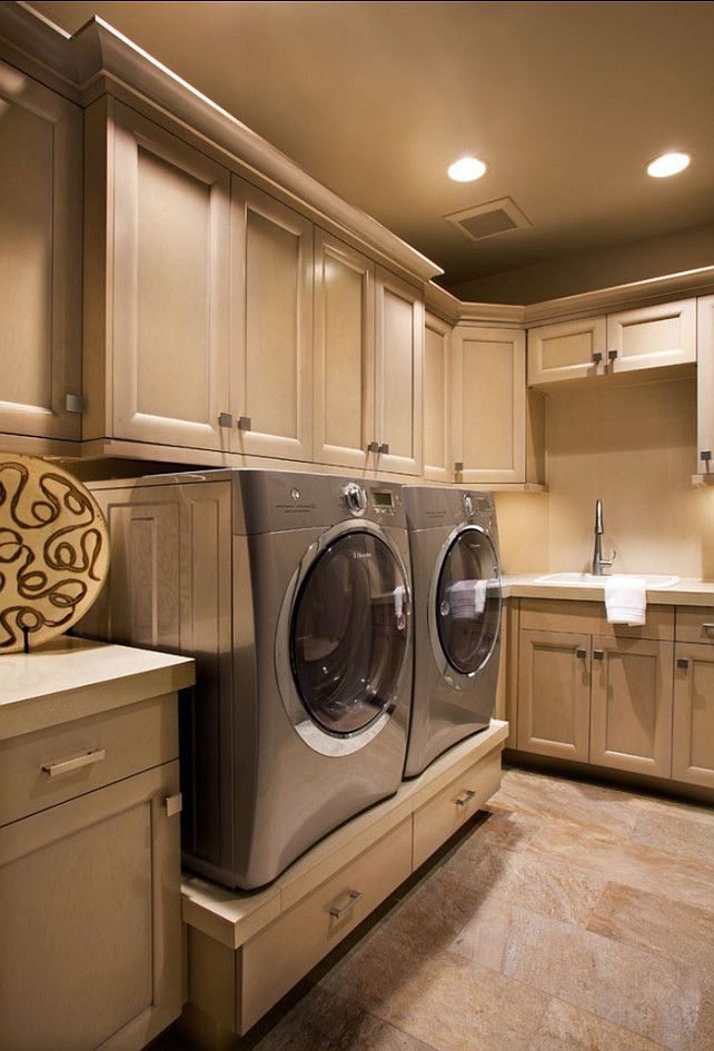 #LaundryRoom #Interiors, love the custom shelves underneath the w/ d