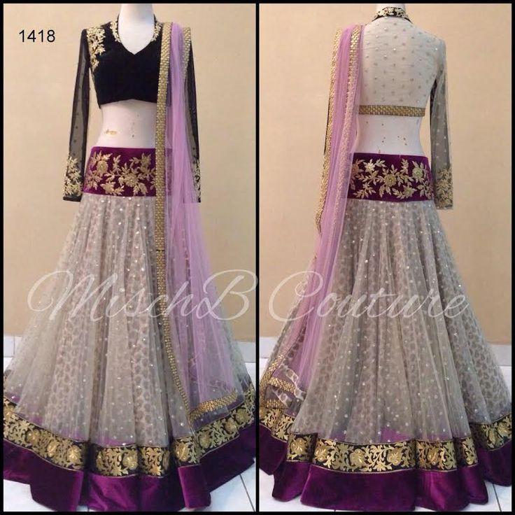 Off White And Pink Net & Velvet Latest Bollywood Lengha Choli ,Indian Dresses - 1