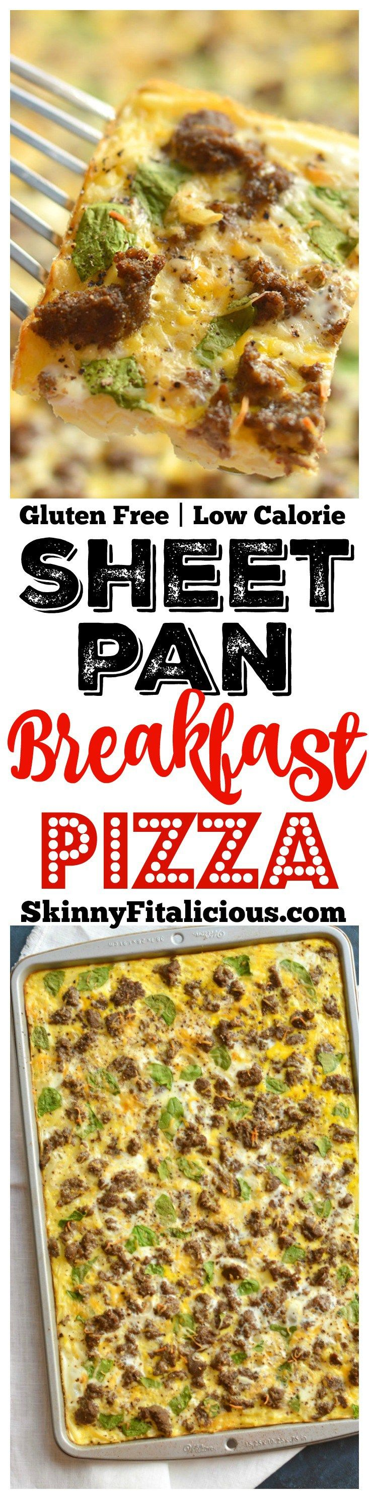 Sheet Pan Breakfast Pizza! Your favorite breakfast pizza turned healthy. Layered with healthy ingredients, this breakfast pizza has big flavor for less calories. Baked on a sheet pan for easy cleanup! (Paleo Breakfast Pizza)