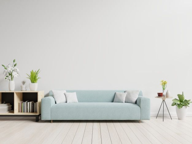 Empty Living Room With Blue Sofa Plants And Table On Empty White Wall Background Blue Sofa White Walls Zen Home Decor