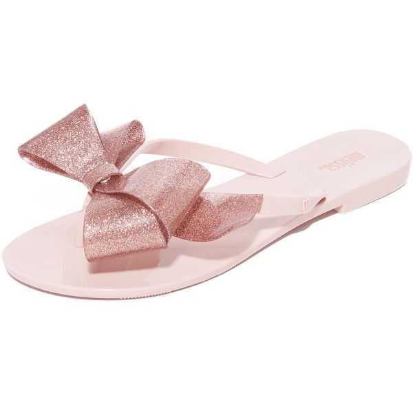 Melissa Harmonic Bow III Flip Flops ($55) ❤ liked on Polyvore featuring shoes, sandals, flip flops, melissa flip flops, melissa footwear, rubber sole shoes, melissa sandals and bow sandals