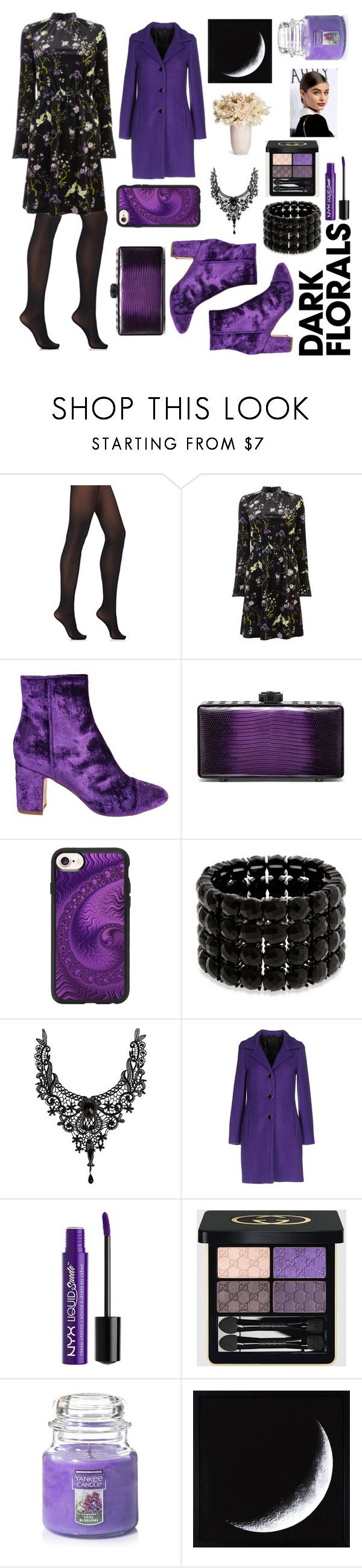 """""""dark florals"""" by majafashionlover ❤ liked on Polyvore featuring Wolford, Warehouse, Polly Plume, Bougeotte, Casetify, Erica Lyons, Carla G., Charlotte Russe, Gucci and Yankee Candle"""
