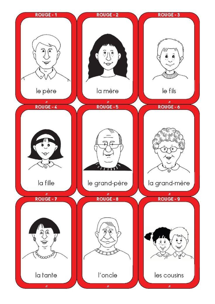 jeu de 7 familles imprimable gratuit. travail sur les couleurs, nombres, jeux d'échange, membres de la famille.