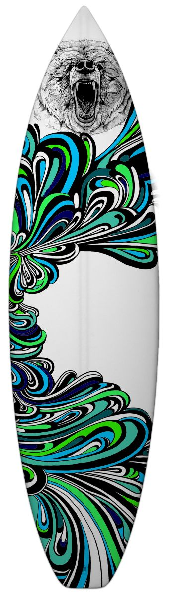 Surfboard art by Matt Jarvis, the bear reminds me of my home spot...