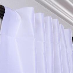 Ice White Vintage Faux Textured Dupioni Silk Curta…